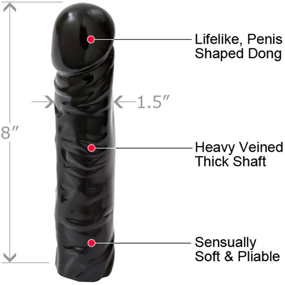 """Doc Johnson Classic Realistic Dong Sex Toy 8"""" Ebony - View #1"""