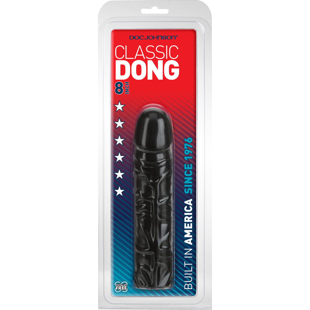 """Doc Johnson Classic Realistic Dong Sex Toy 8"""" Ebony - View #4"""