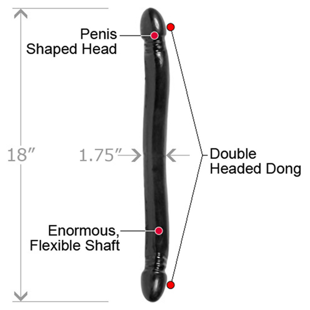 "Doc Johnson Smooth Double Header Dong 18"" Ebony - View #1"