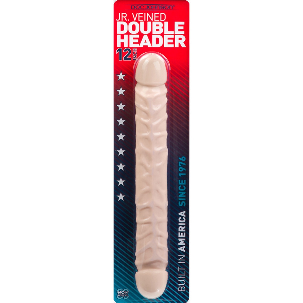 "Doc Johnson Jr Veined Double Header Bender Dong 12"" Natural - View #3"