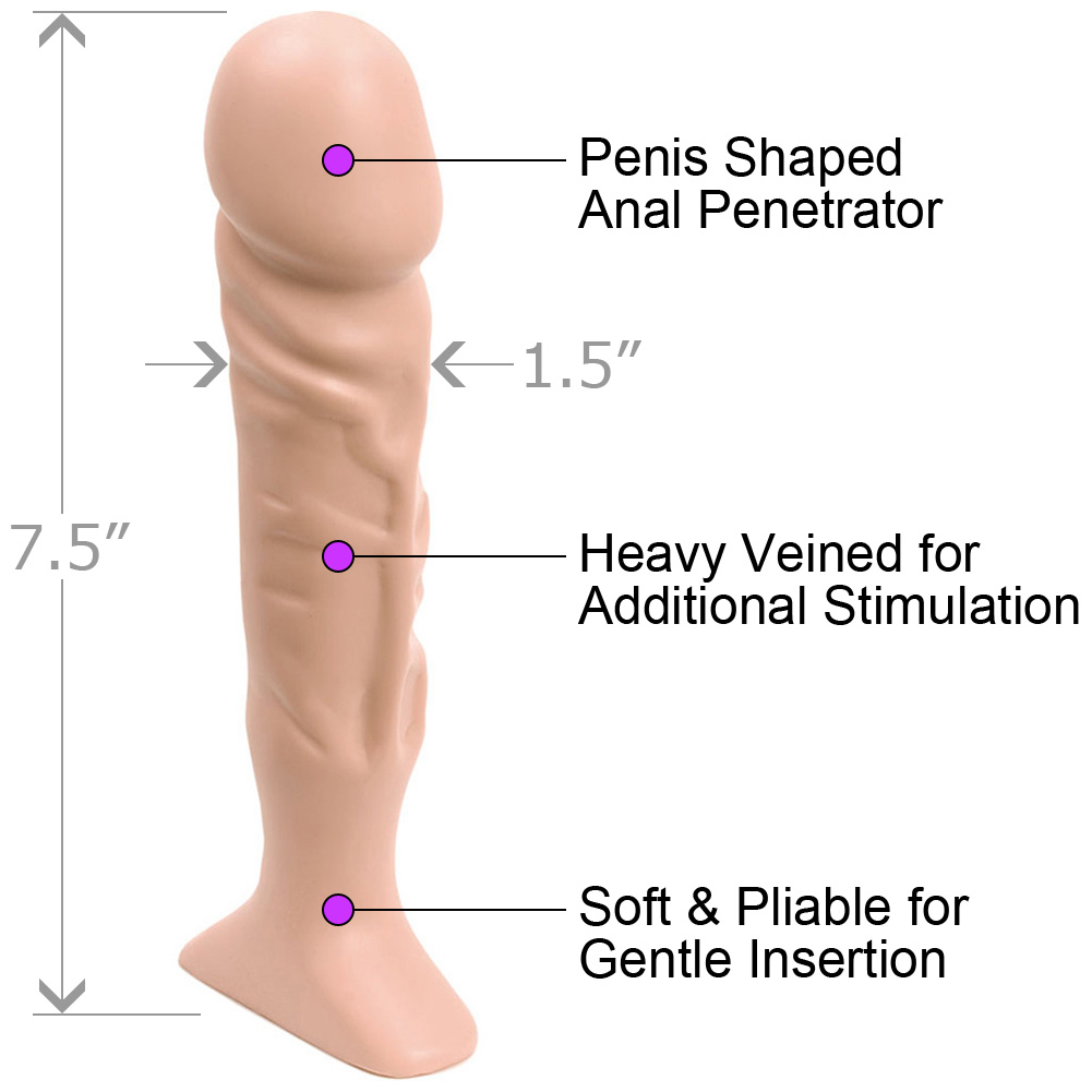 "Doc Johnson Classic Thin Tool Butt Plug 7.5"" Natural Flesh - View #1"