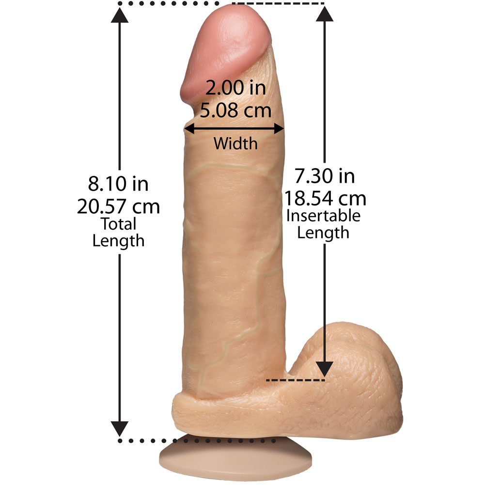 """Doc Johnson Realistic Cock with Balls Dong 8.75"""" Natural - View #3"""