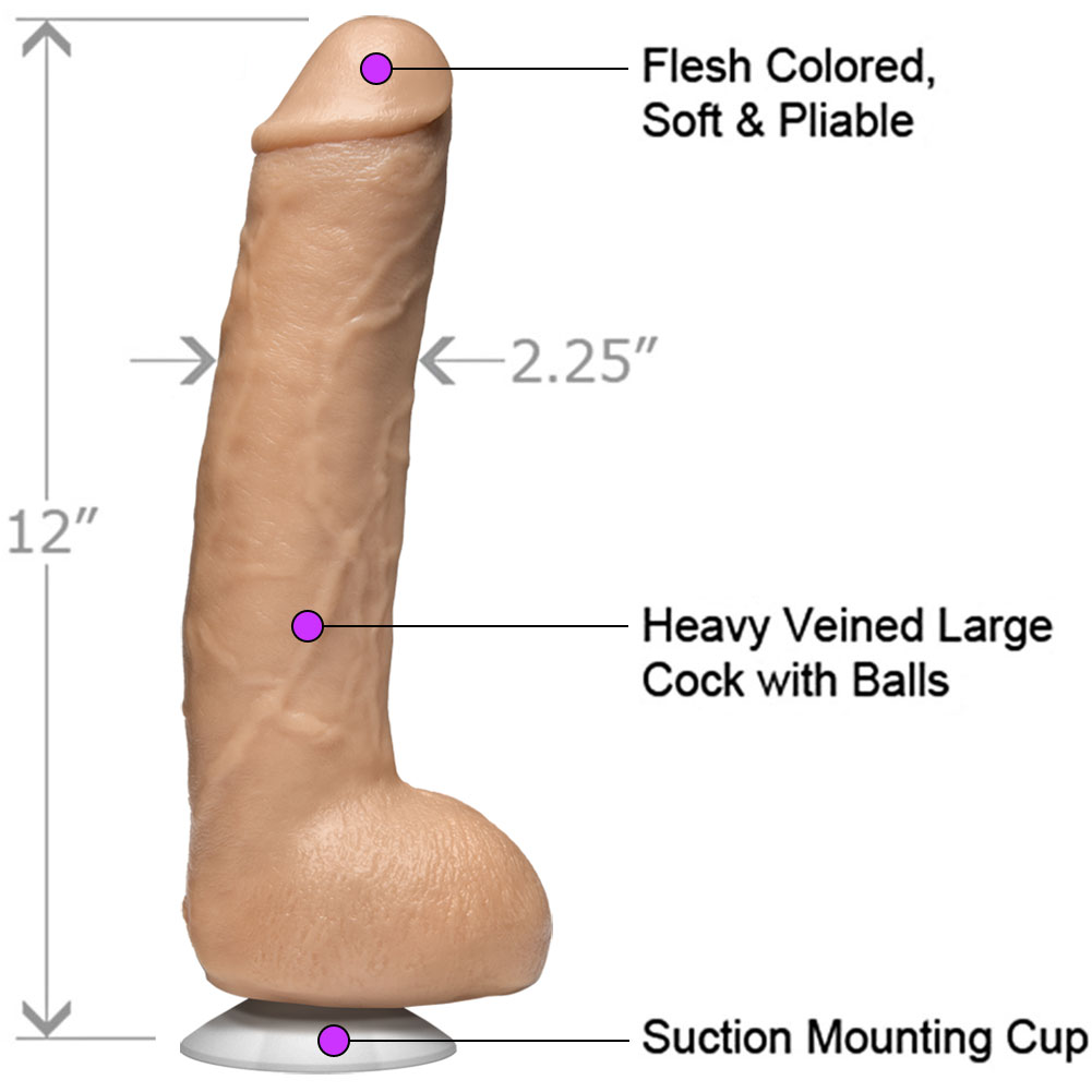 "Doc Johnson John Holmes Realistic Cock 12"" Natural - View #1"