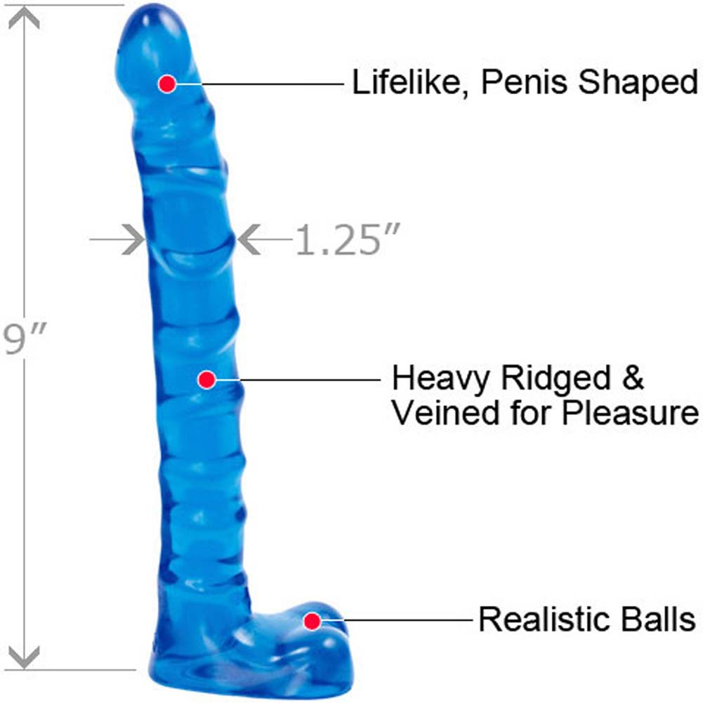 "Doc Johnson Raging Hard Ons Slim Line Ballsy Jelly Dildo 9"" Blue - View #1"
