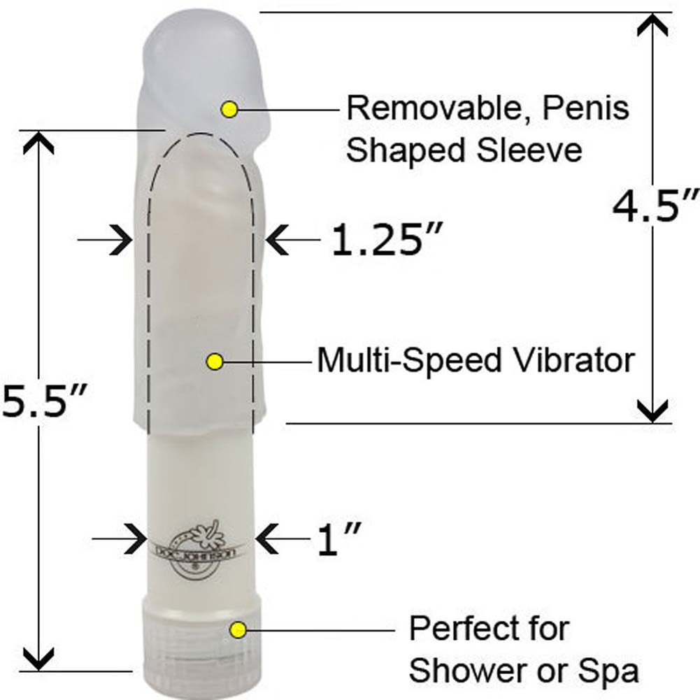 """Doc Johnson Mighty Mini Brute Vibe Removable Soft Jelly Sleeve 5.5"""" Clear - View #1"""