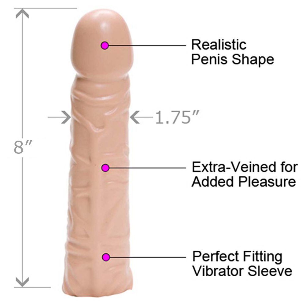 "Doc Johnson Veined Vibrator Sleeve 8"" Beige - View #1"