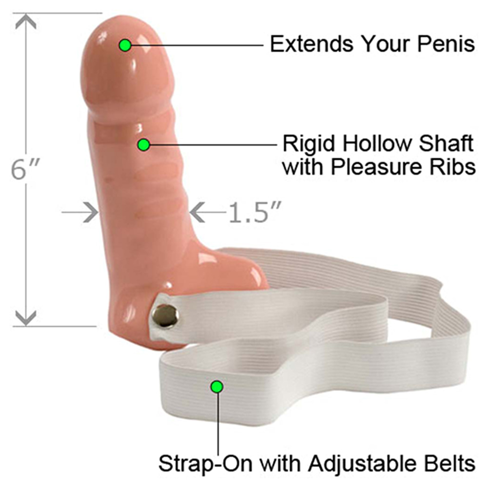 "Doc Johnson Penis Hard On Dong with Strap 6"" Beige - View #1"