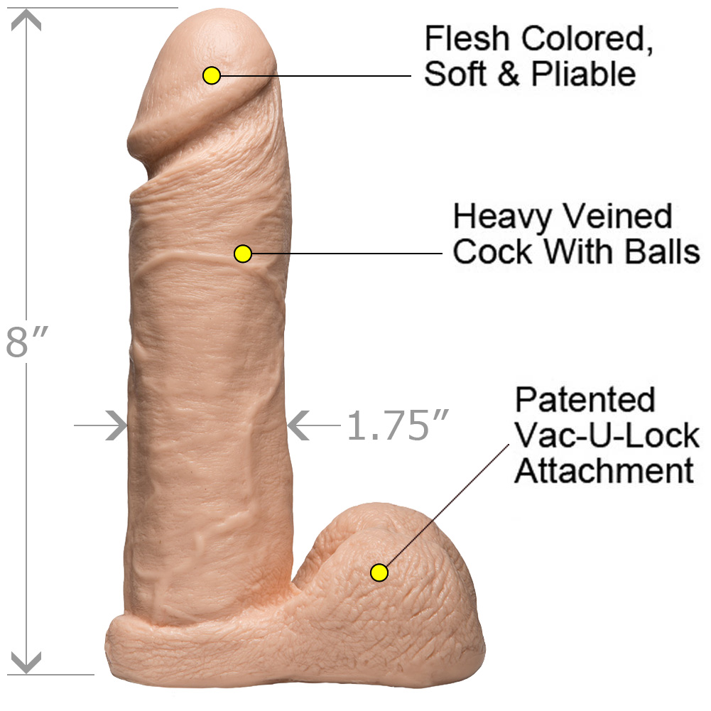 "Vac-U-Lock Realistic Cock with Balls 8"" Natural - View #1"