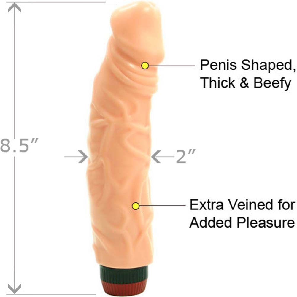 "Jumbo Veined Flex Personal Vibrator 8.5"" Flesh - View #1"