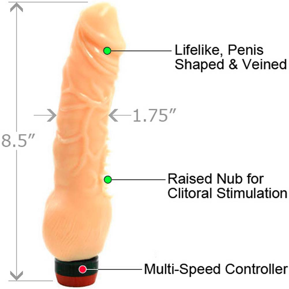 "Super Stud Flexible Clitterific Vibrator 8.5"" Flesh - View #1"