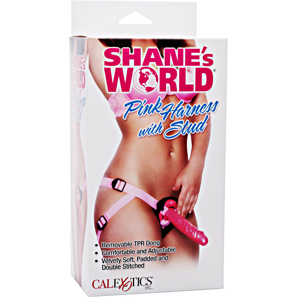 "California Exotics Shanes World Harness Strap-On 7.75"" Erotic Pink - View #4"