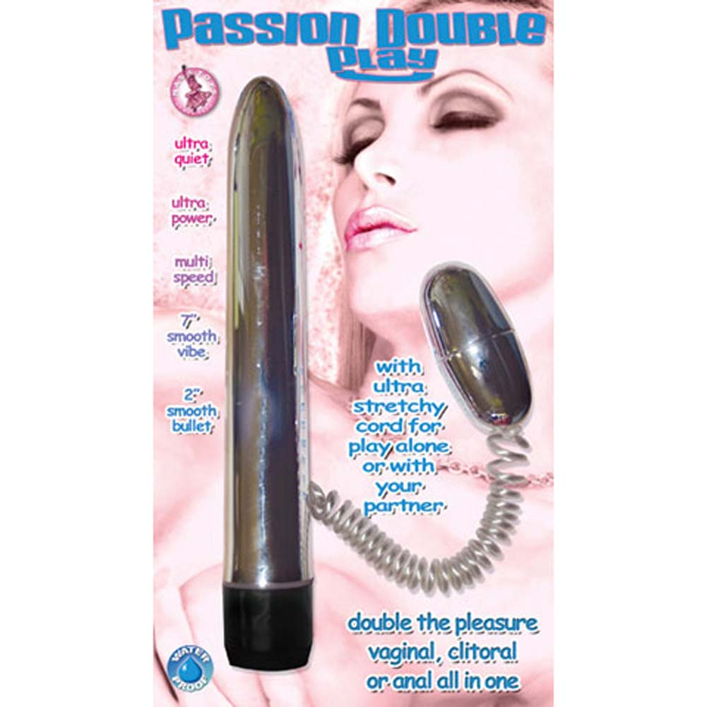 "Passion Double Play Waterproof Personal Vibrator 7"" Silver - View #3"