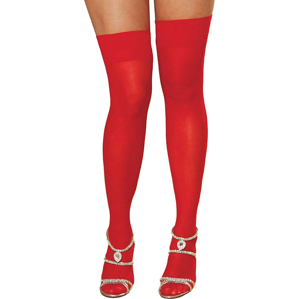Dreamgirl Sheer Thigh High with Back Seam Plus Size Red - View #2