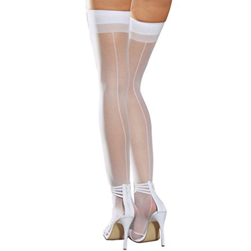 Dreamgirl Sheer Thigh High with Back Seam One Size White - View #1