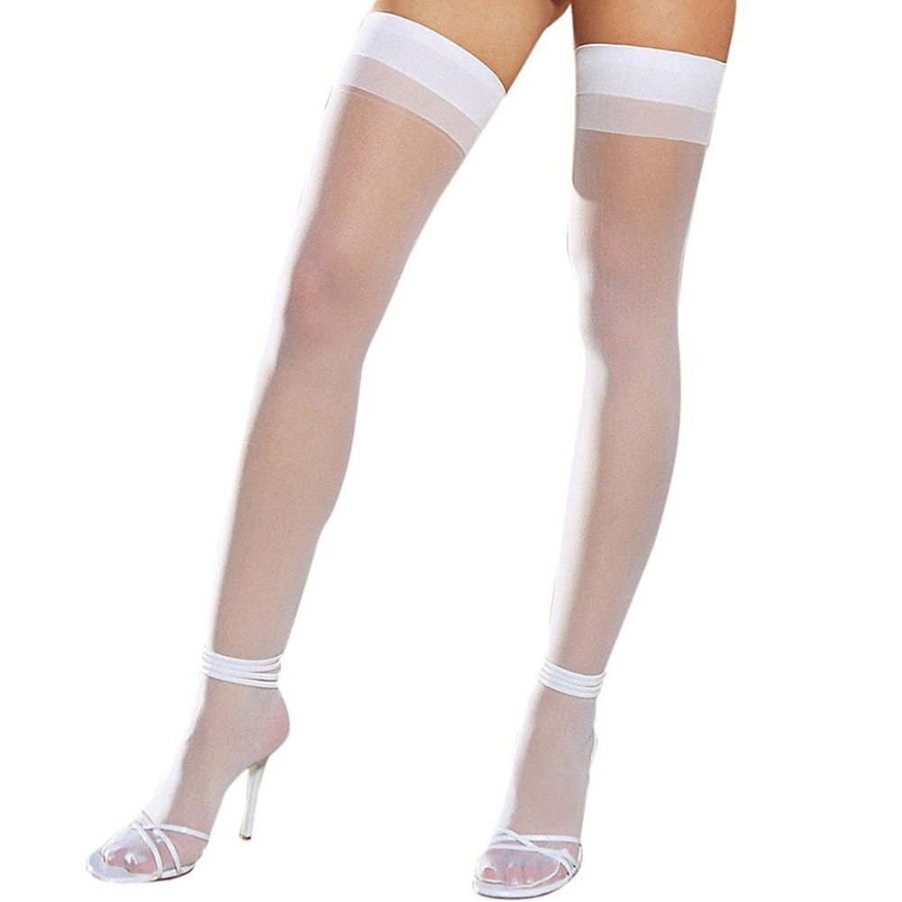 Dreamgirl Sheer Thigh High with Back Seam One Size White - View #2