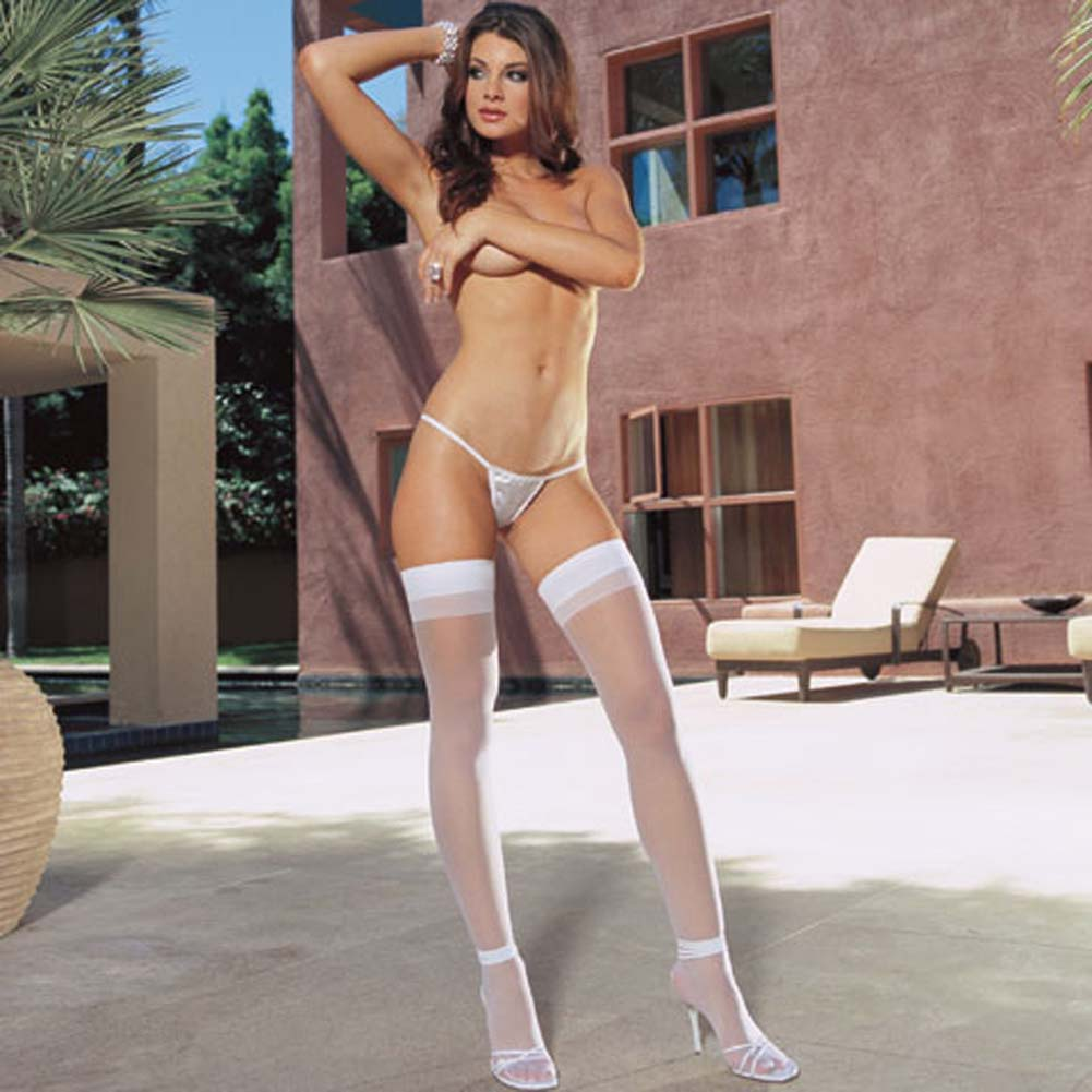 Dreamgirl Sheer Thigh High with Back Seam One Size White - View #3