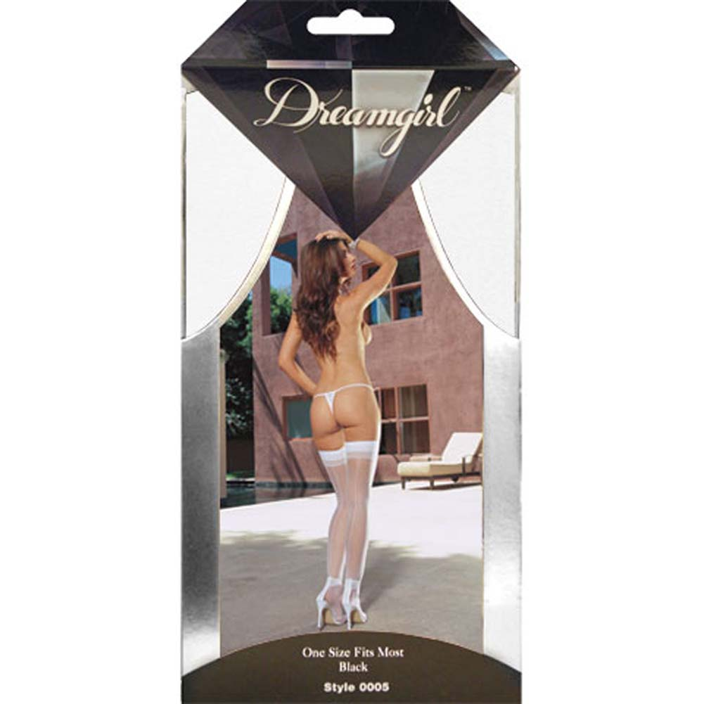 Dreamgirl Sheer Thigh High with Back Seam One Size White - View #4
