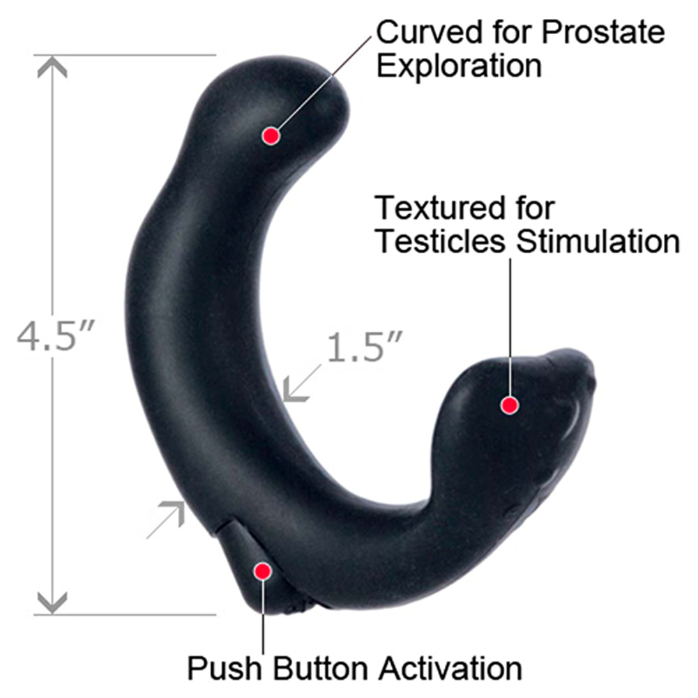California Exotics P Rock Prostate Vibrating Silicone Waterproof Butt Plug Black - View #1