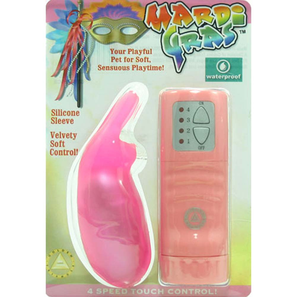 "Golden Triangle Mardi Gras Waterproof Silicone Vibrating Rabbit 4"" Pink - View #1"