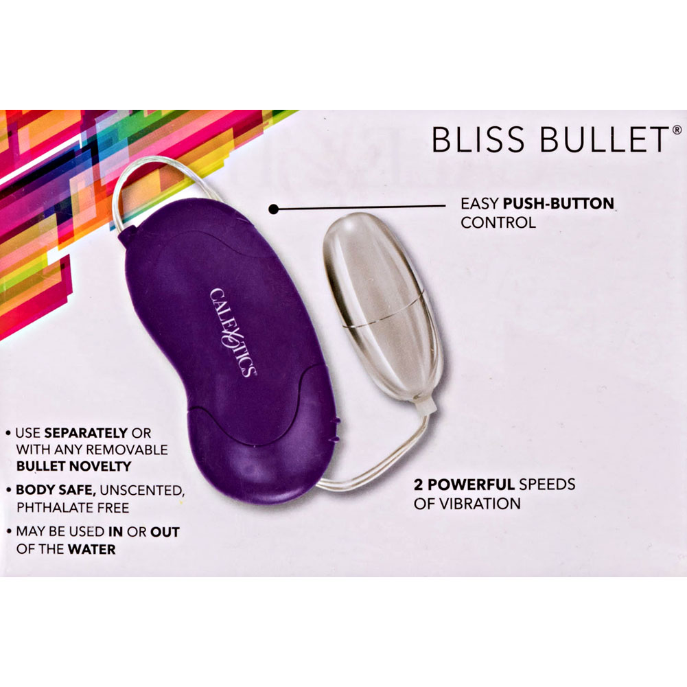 "CalExotics Bliss Universal Vibrating Bullet with Remote 2.25"" Purple/Silver - View #3"