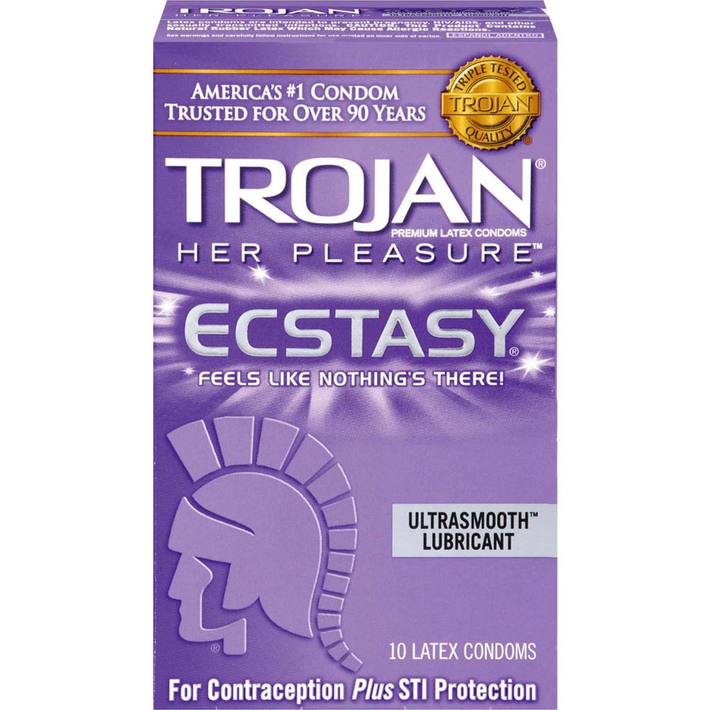 Trojan Her Pleasure Ecstasy Condoms with UltraSmooth Lubricant 10 Pack - View #2