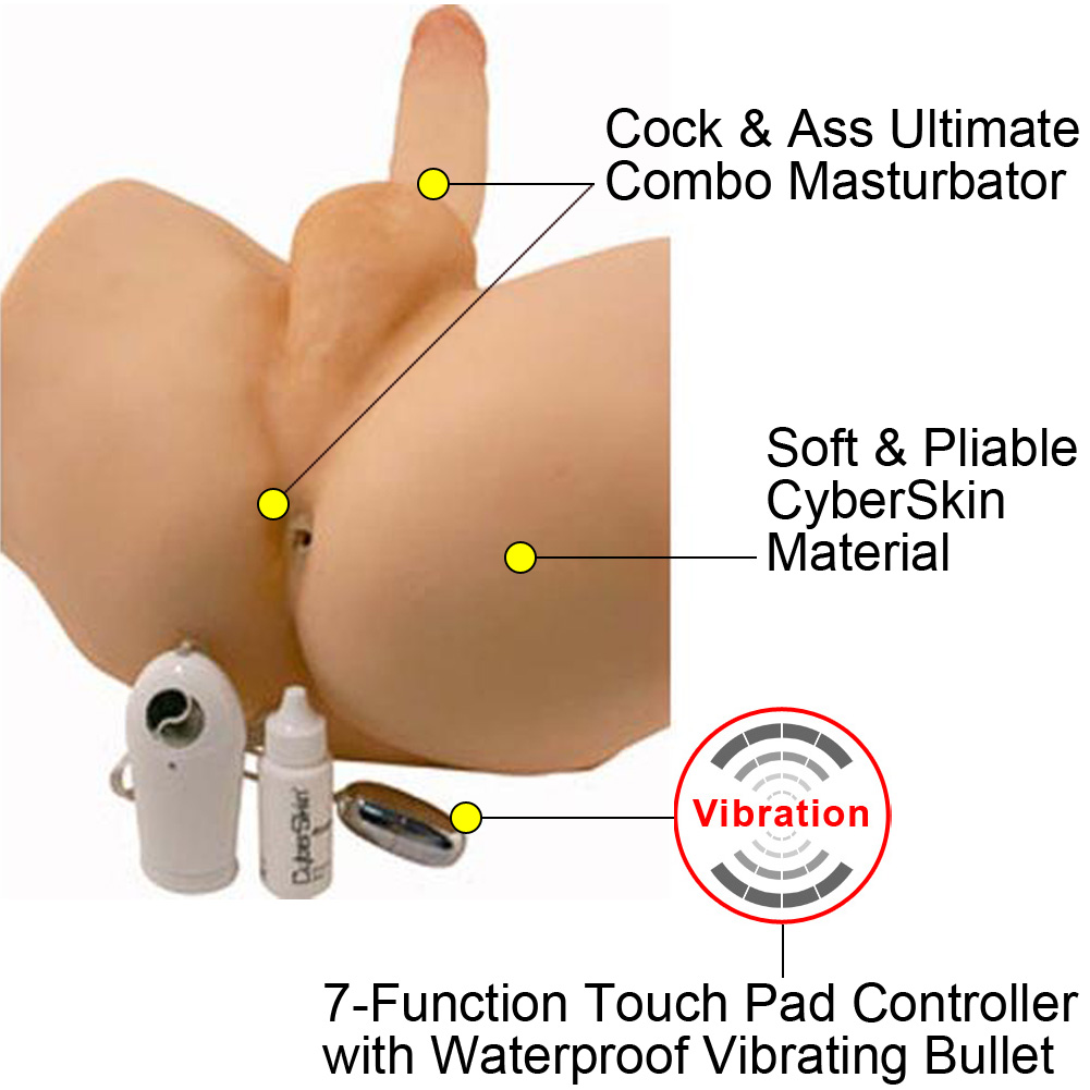 Virtual Sex Featherweight CyberSkin Vibrating Cock and Ass - View #1