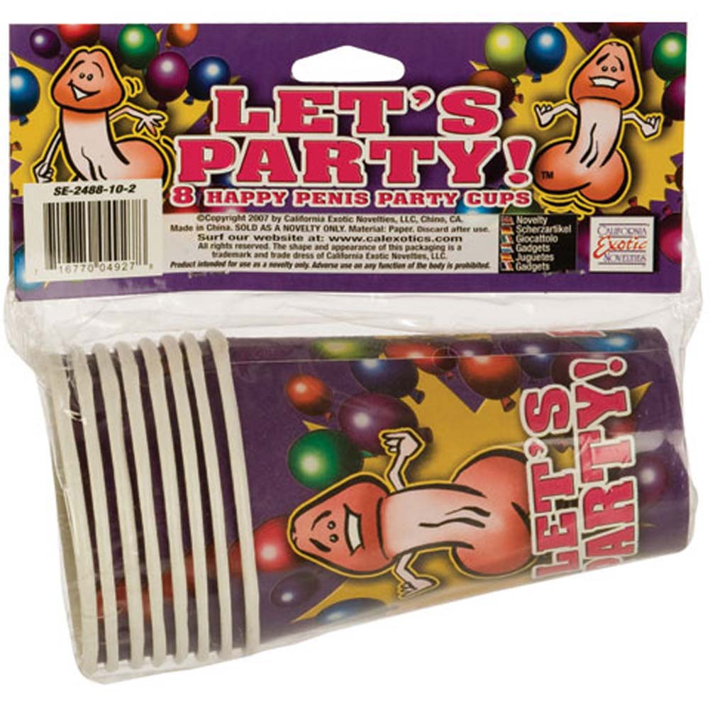 California Exotics Lets Party 8 Happy Penis Party Cups - View #3