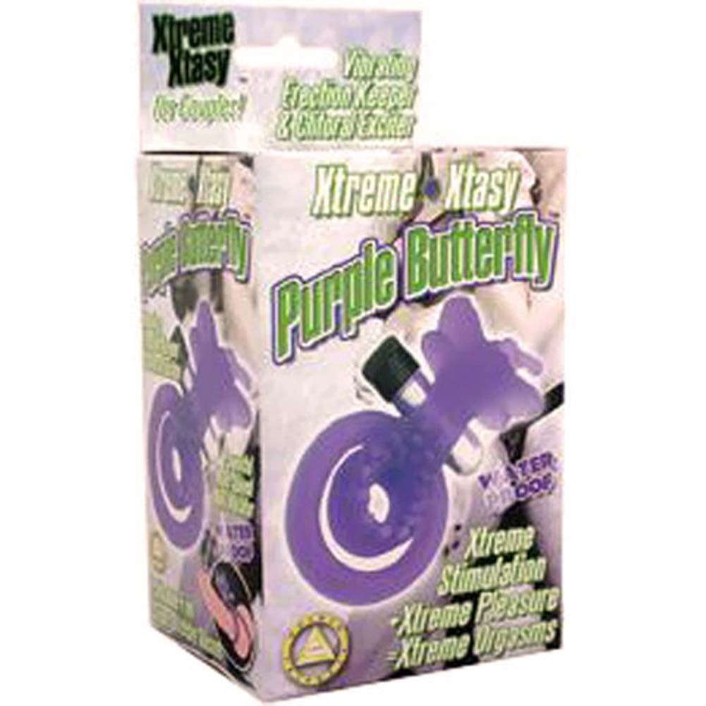 Xtreme Xtasy Dual Pleasure Vibrating Waterproof Silicone Cockring Purple Butterfly - View #3