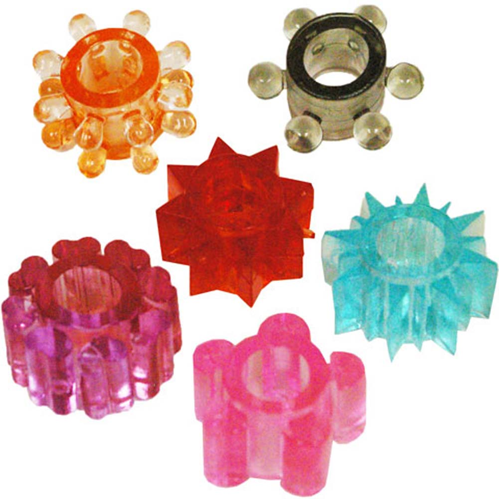 Hott Products Pleasure Stars 6 Piece Silicone Cockring Set Assorted Colors - View #2