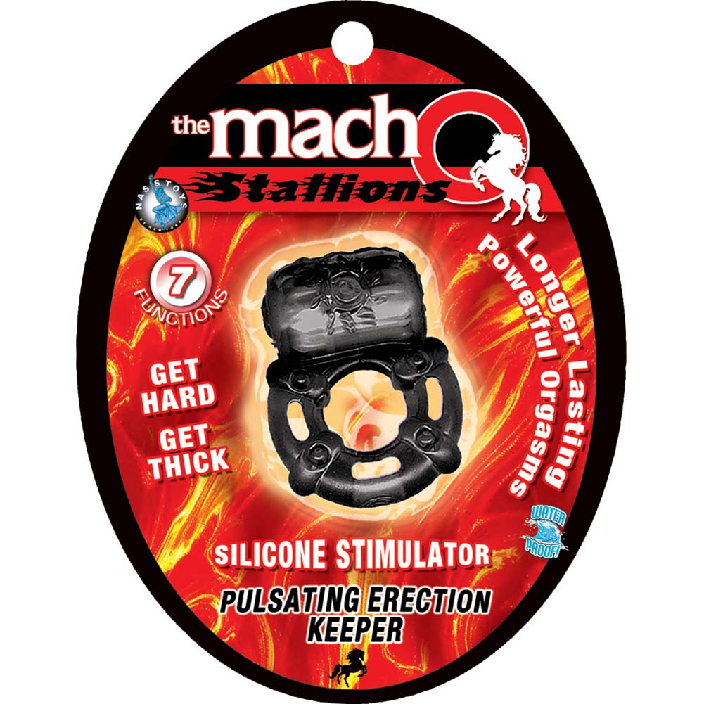 Macho Stallions Pulsating Erection Keeper Vibrating Cockring Black - View #1