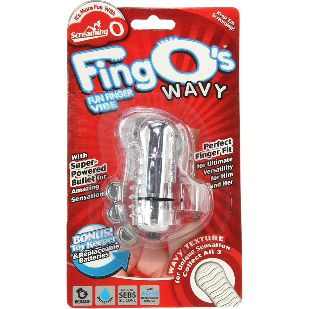 Screaming O FingO Wavy Waterproof Vibrating Bullet with Finger Strap Clear - View #4
