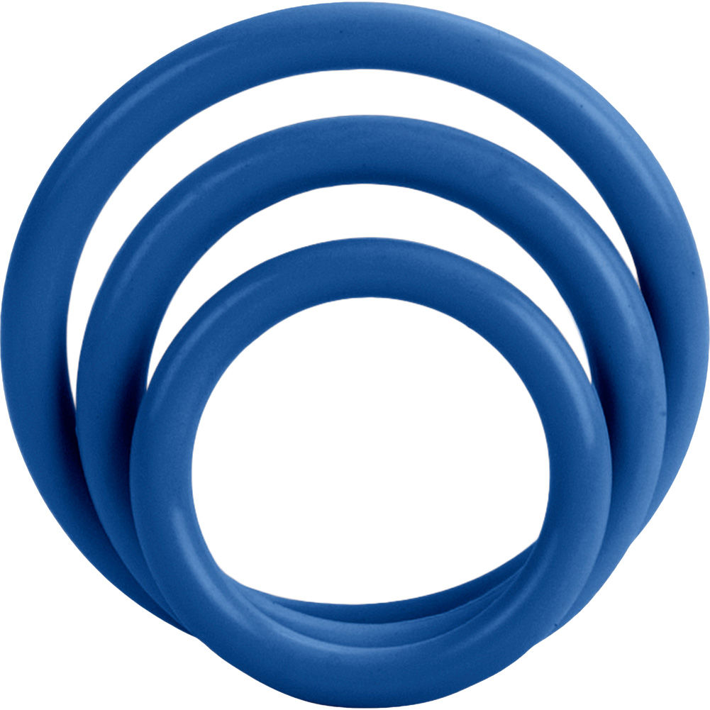 CalExotics Tri Rings Stretchy Cockring Set Blue - View #2