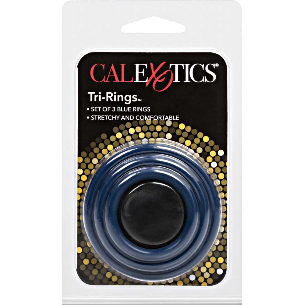 CalExotics Tri Rings Stretchy Cockring Set Blue - View #4
