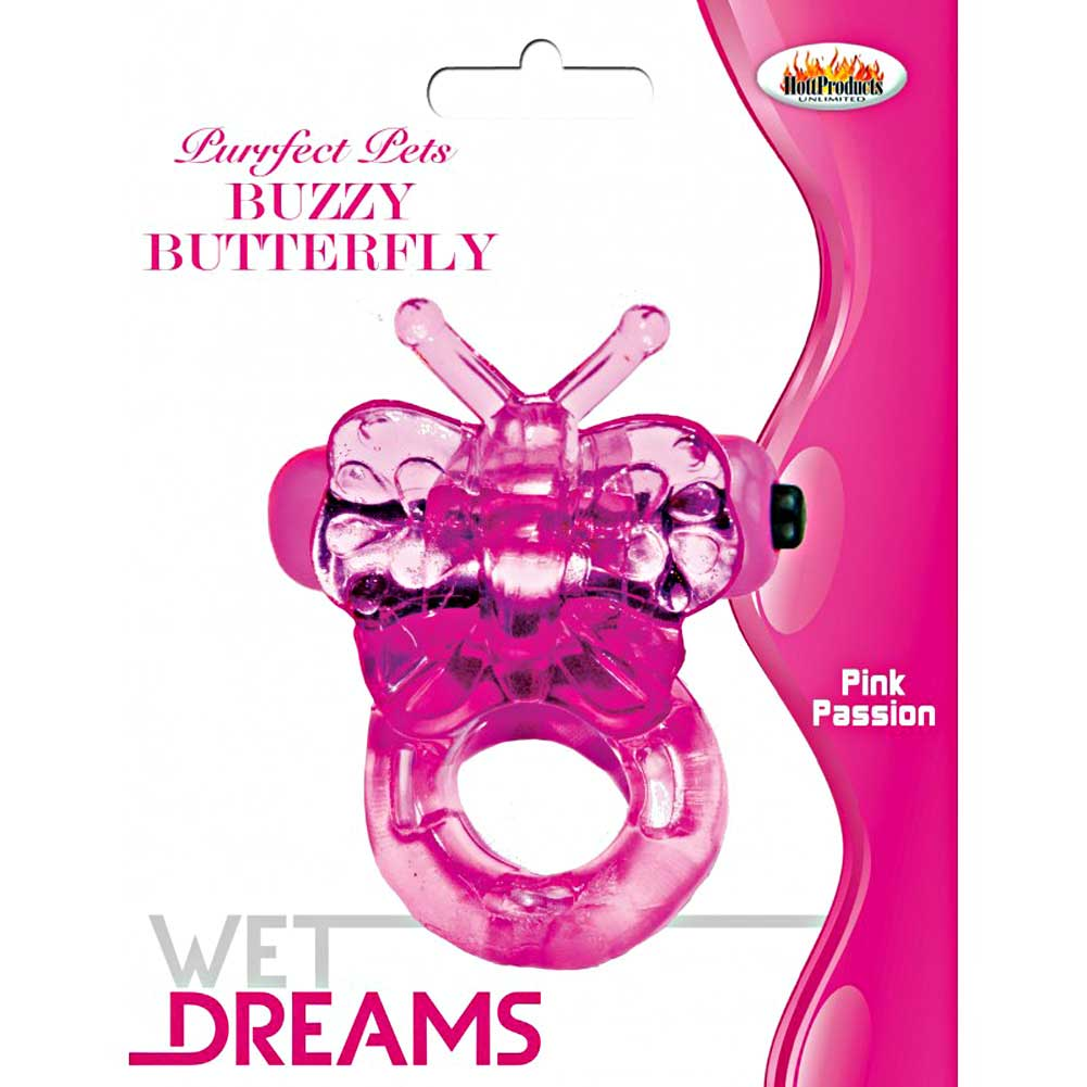 Hottproducts Purrrfect Pets Buzzy Butterfly Vibrating Cockring Pink - View #3