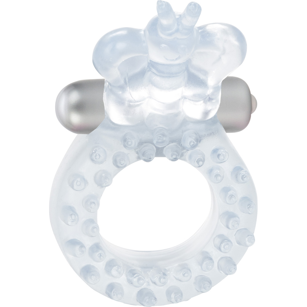 California Exotics Butterfly Waterproof Vibrating Ring Clear - View #3