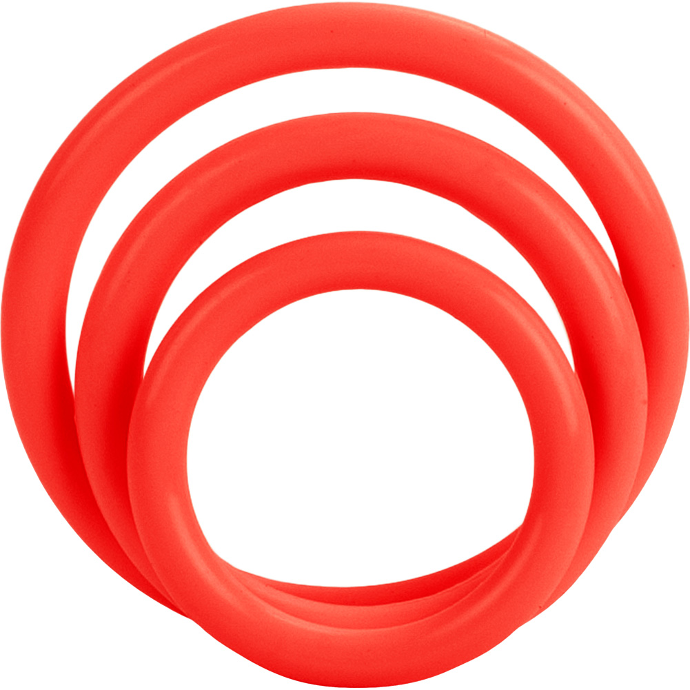 CalExotics Tri Rings Stretchy Cockring Set Red - View #2