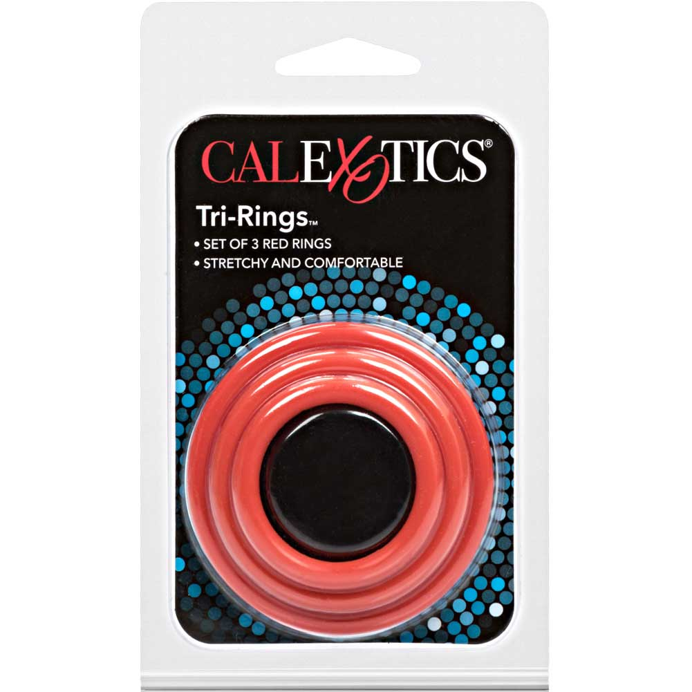 CalExotics Tri Rings Stretchy Cockring Set Red - View #4