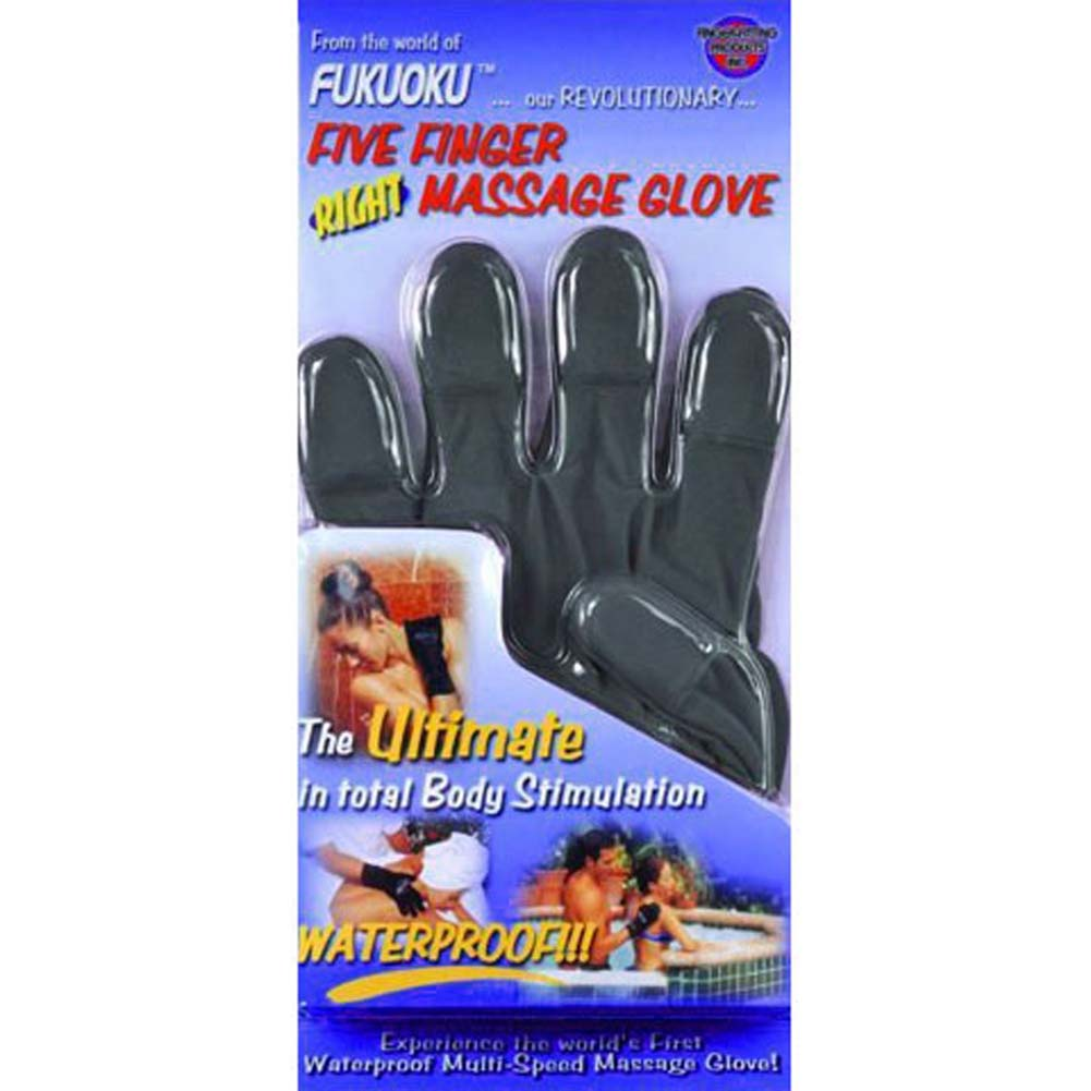 Fukuoku 5 Finger Vibrating Right Hand Massage Glove Medium/Large Black - View #3