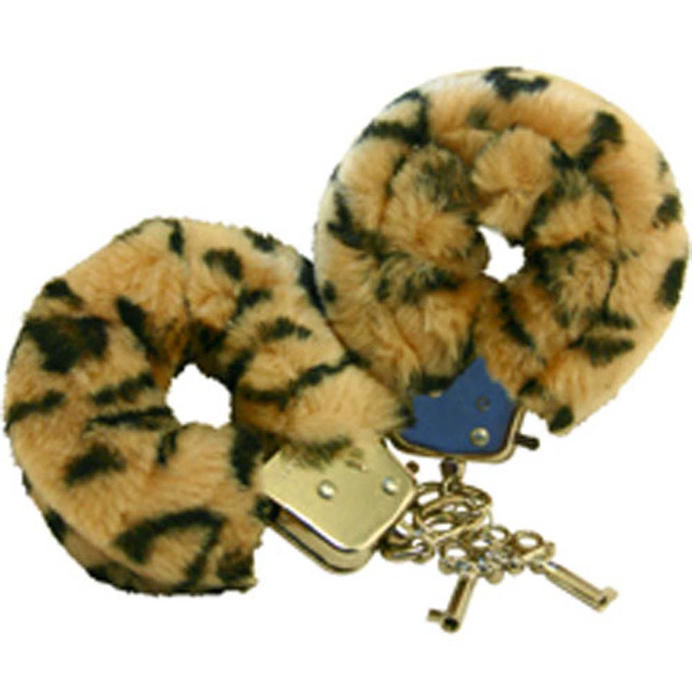 Golden Triangle Faux Fur Love Cuffs for Intimate Lovers Plush Leopard - View #2