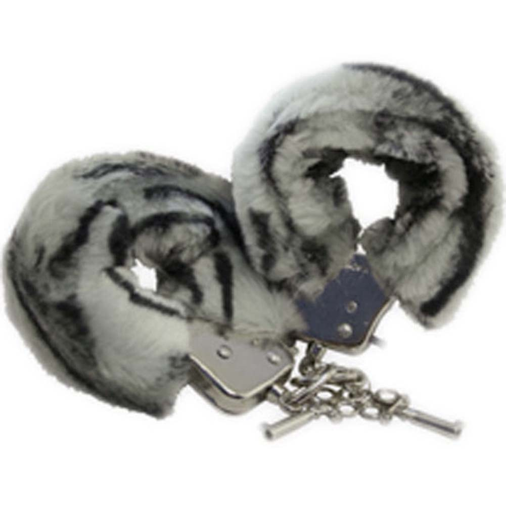 Golden Triangle Faux Fur Love Cuffs for Intimate Lovers Plush Zebra - View #2
