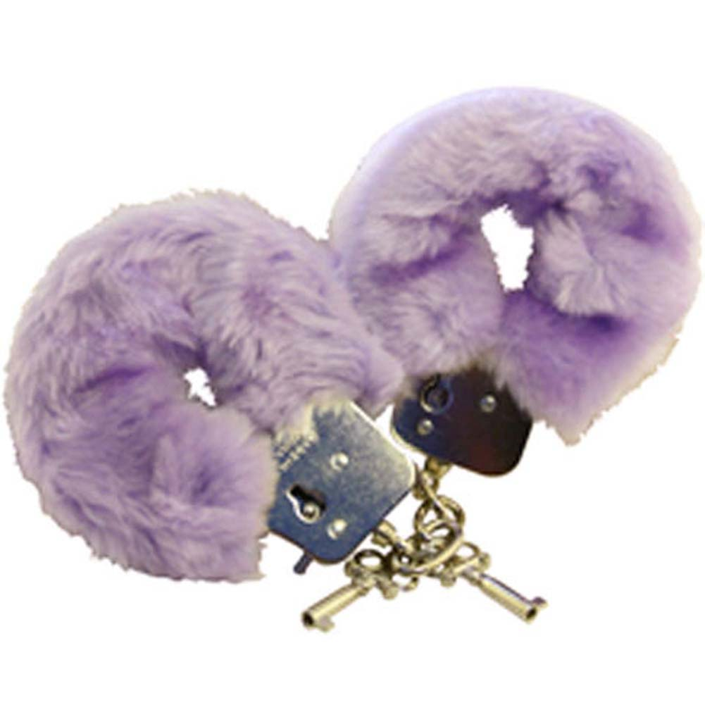 Golden Triangle Faux Fur Love Cuffs for Intimate Lovers Plush Lavender - View #2