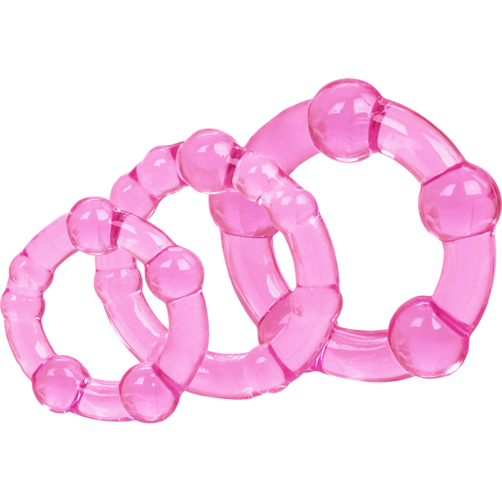 California Exotics Island Silicone Rings 3 Sizes Pink - View #3
