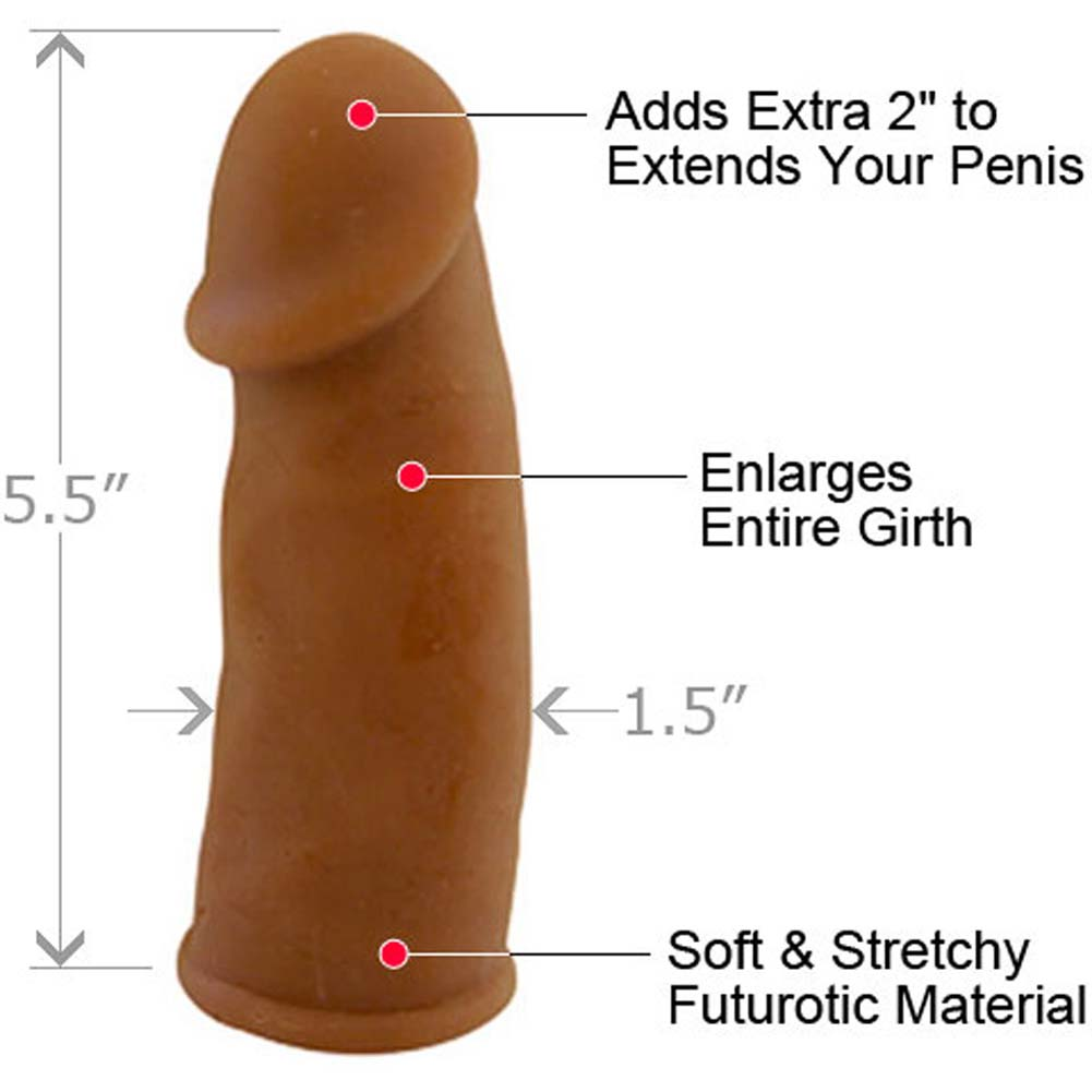 "2"" Extra Length Futurotic Penis Extension 5.5"" Brown - View #1"