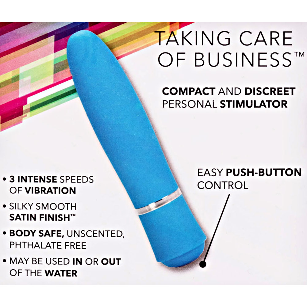 "California Exotics TCB Taking Care of Business Waterproof Vibrator 4"" Blue - View #1"