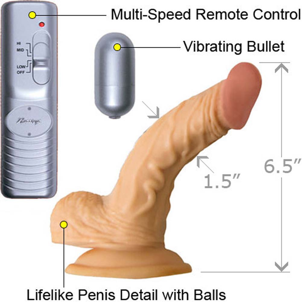 "RealSkin All American Whoppers Vibrating Dong with Balls 5"" Flesh - View #1"