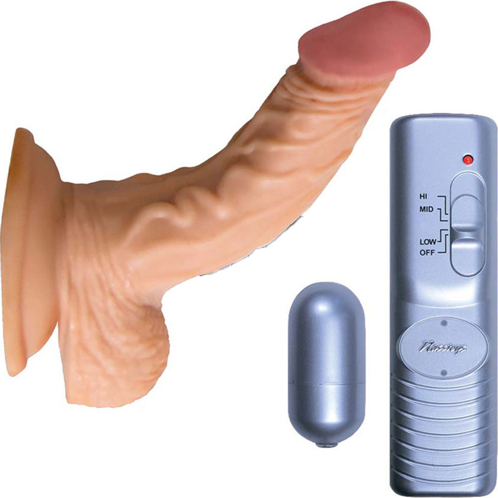 "RealSkin All American Whoppers Vibrating Dong with Balls 5"" Flesh - View #2"