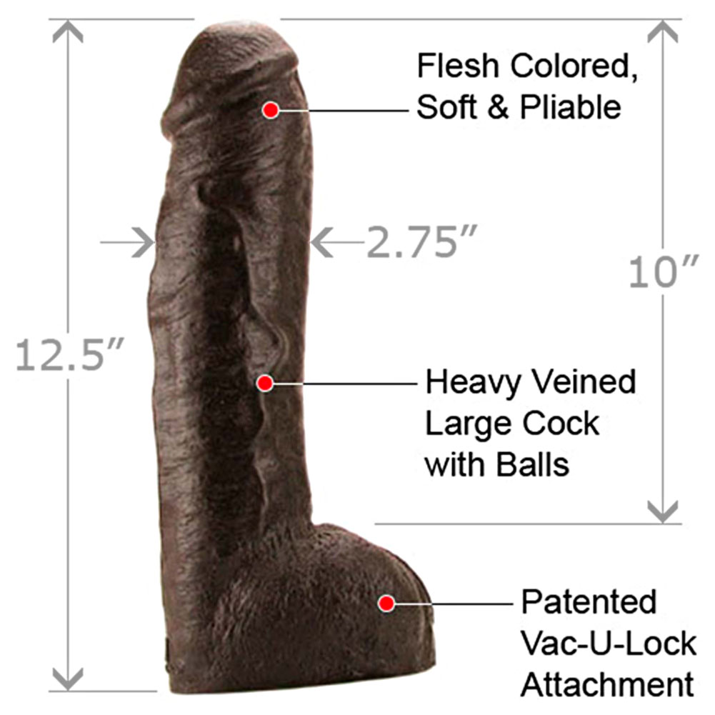"Vac-U-Lock Hung Realistic Dildo with Balls 12.5"" Ebony - View #1"