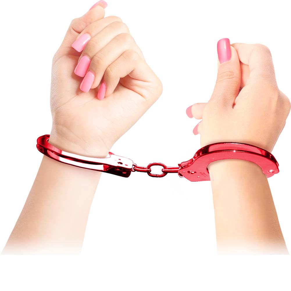 Pipedream Fetish Fantasy Anodized Metal Hand Cuffs One Size Red - View #1