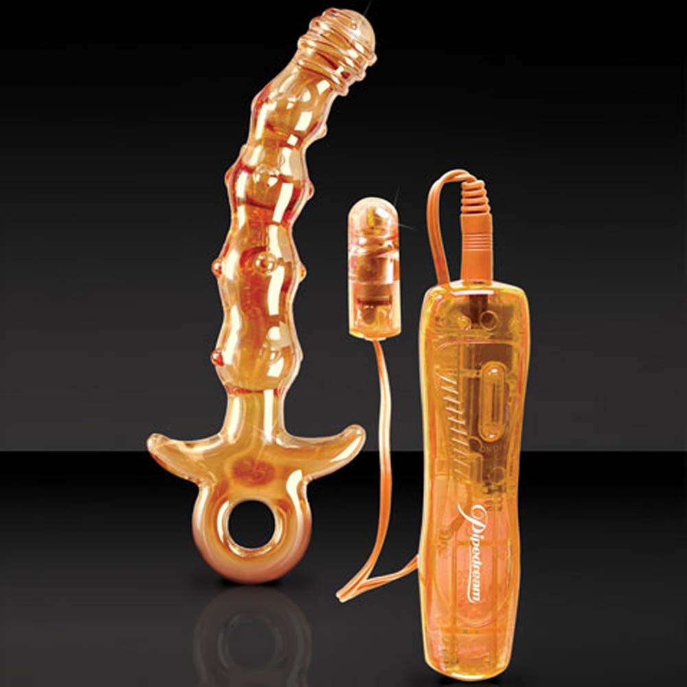 "Icicles No. 15 G-Spot 10 Functions Glass Personal Vibrator 6.5"" Orange - View #3"