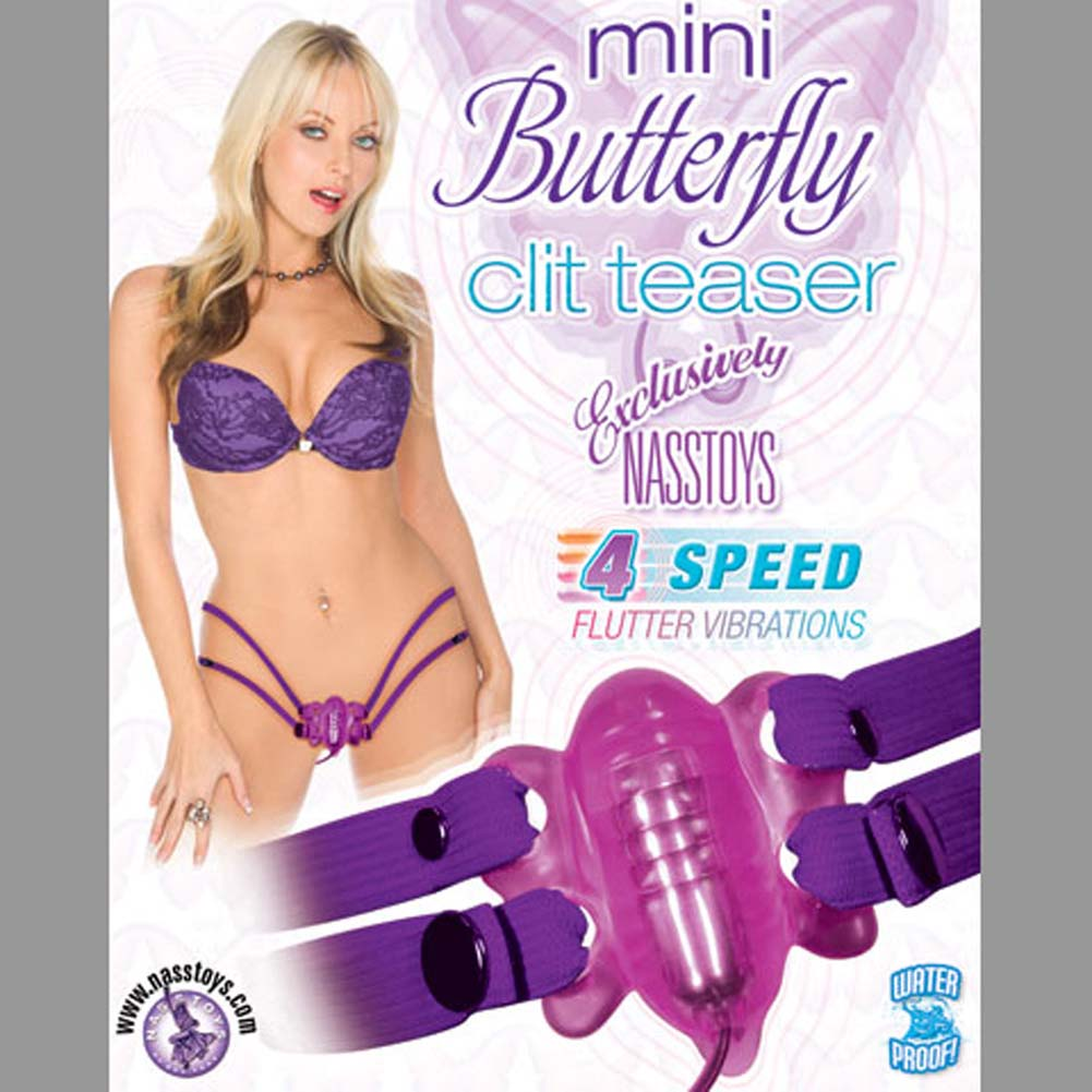 Mini Butterfly Clit Teaser Waterproof Strap-On Vibe Purple - View #3